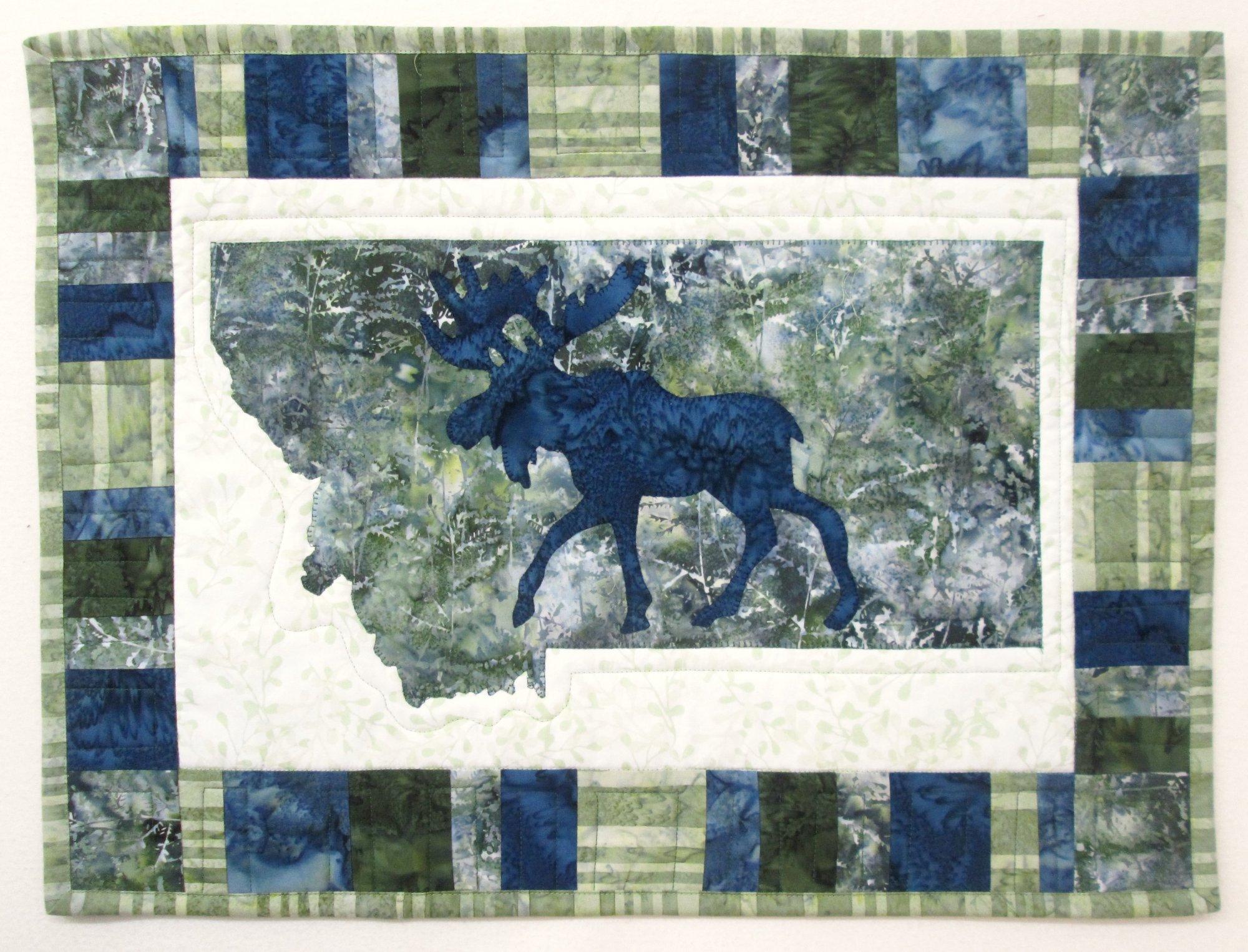 Montana My Heart My Home Moose Wall Hanging Kit (green & blue)
