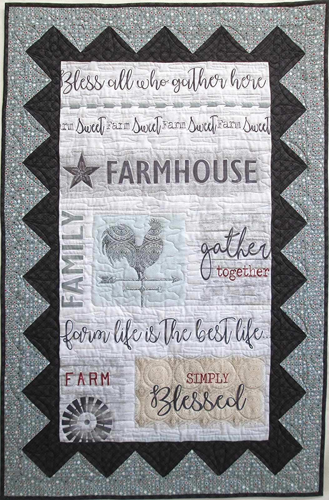 Farm Sweet Farm Wall Hanging or Quilt Finished Sample