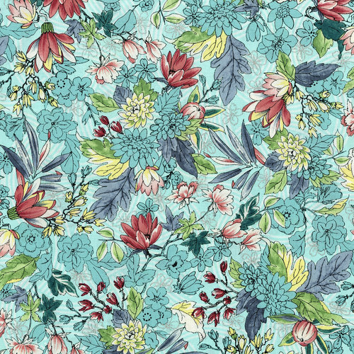 RJR Serene Spring 3251-2 Blue Breeze May Flowers Silver Metallic
