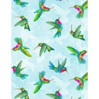 Wilmington Prints Humming Along 33833-473 Hummingbirds on Light Teal