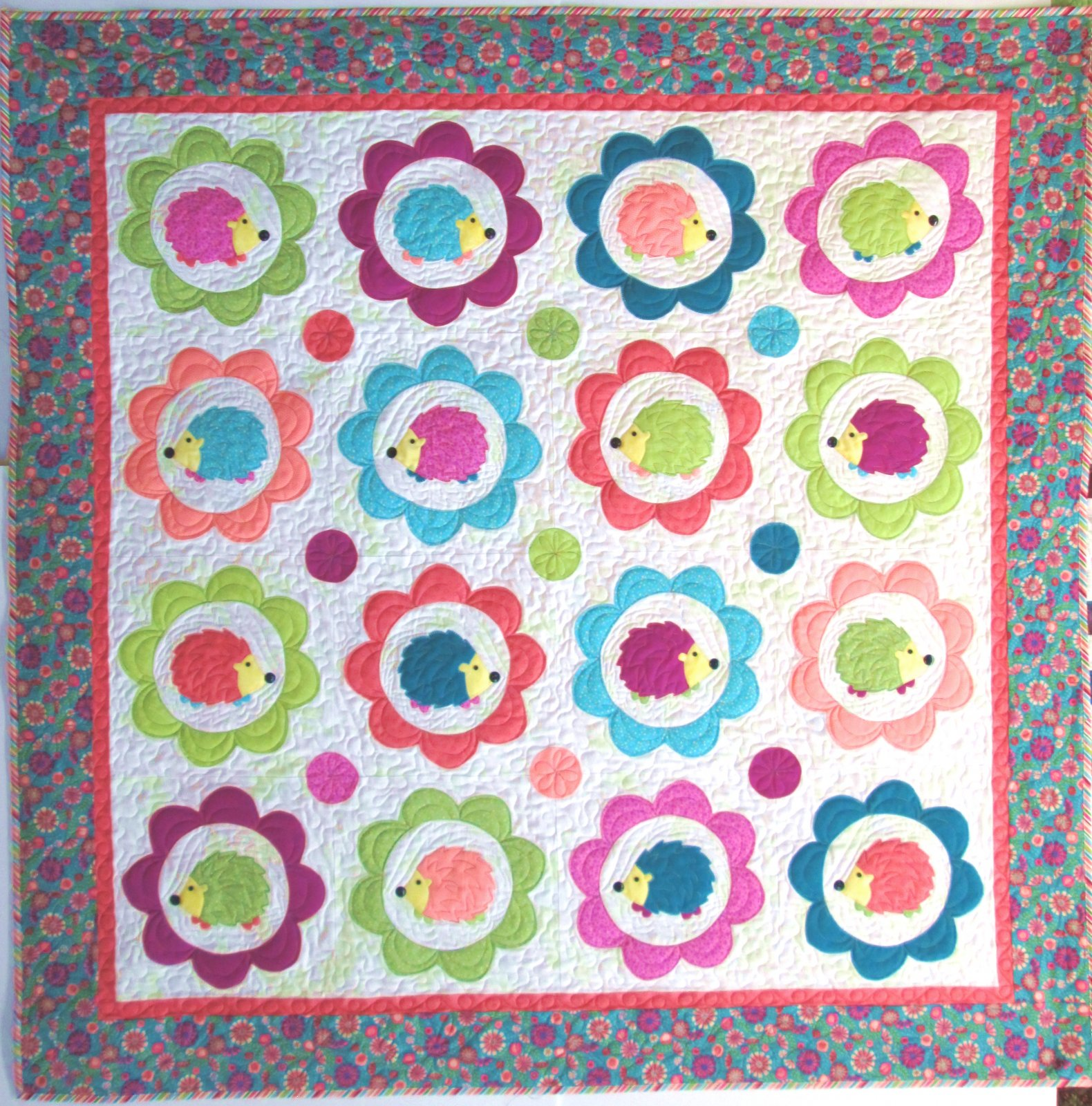 Happy Hedgehogs Quilt Sample