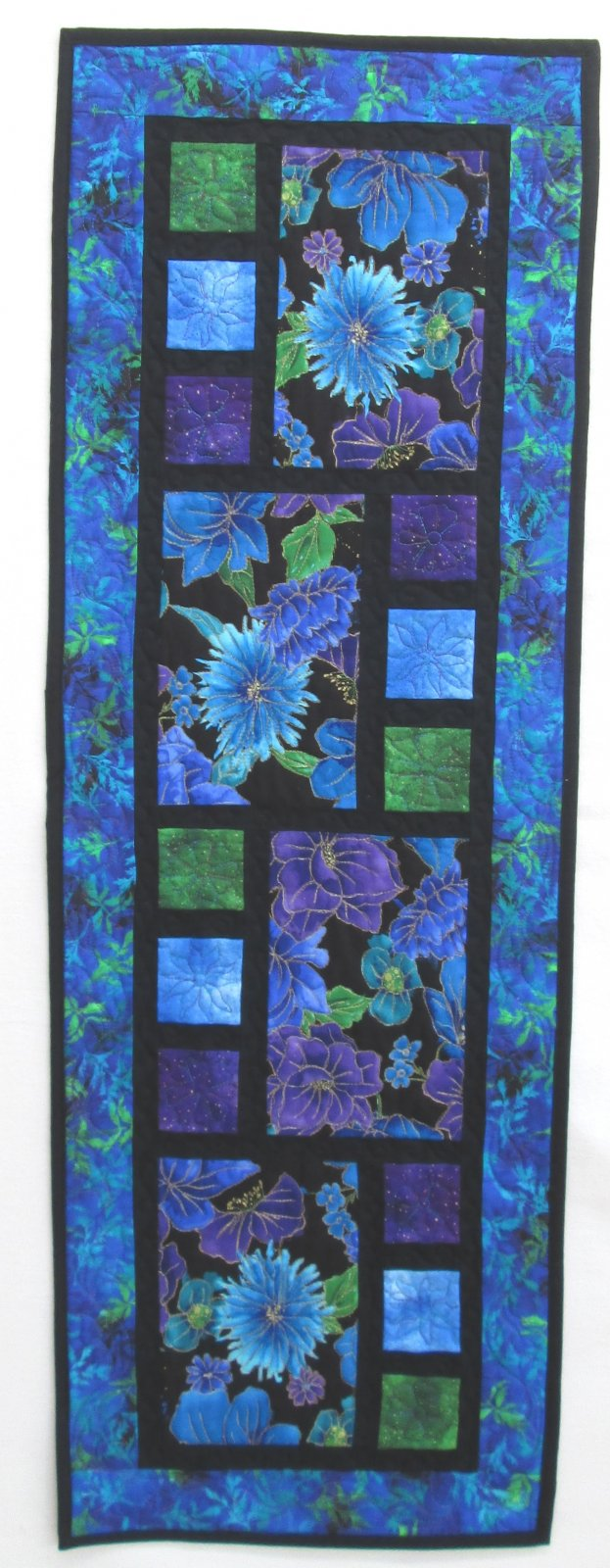 Purple Floral All Squared Up Table Runner Sample 14.5 x 43.75