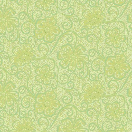 Benartex Contempo Meadow Dance 04044-43 Green Light Green Floral Blender