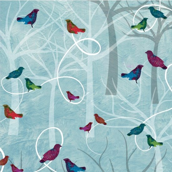 Studio E Autumn Hues 4201-11 Blue with birds in trees