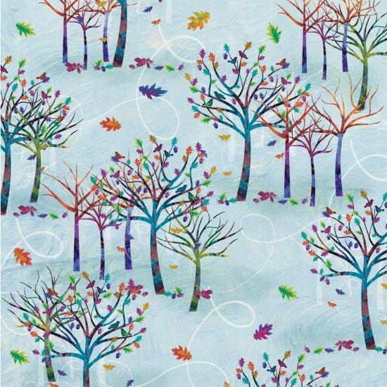 Studio E Autumn Hues 4204-11 Blue with Trees