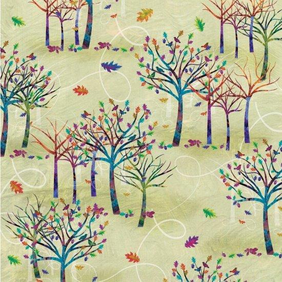 Studio E Autumn Hues 4204-66 Green with Trees
