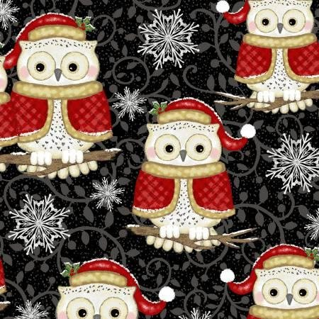 Studio E Winter Greetings 4216-99 Black Set Owls
