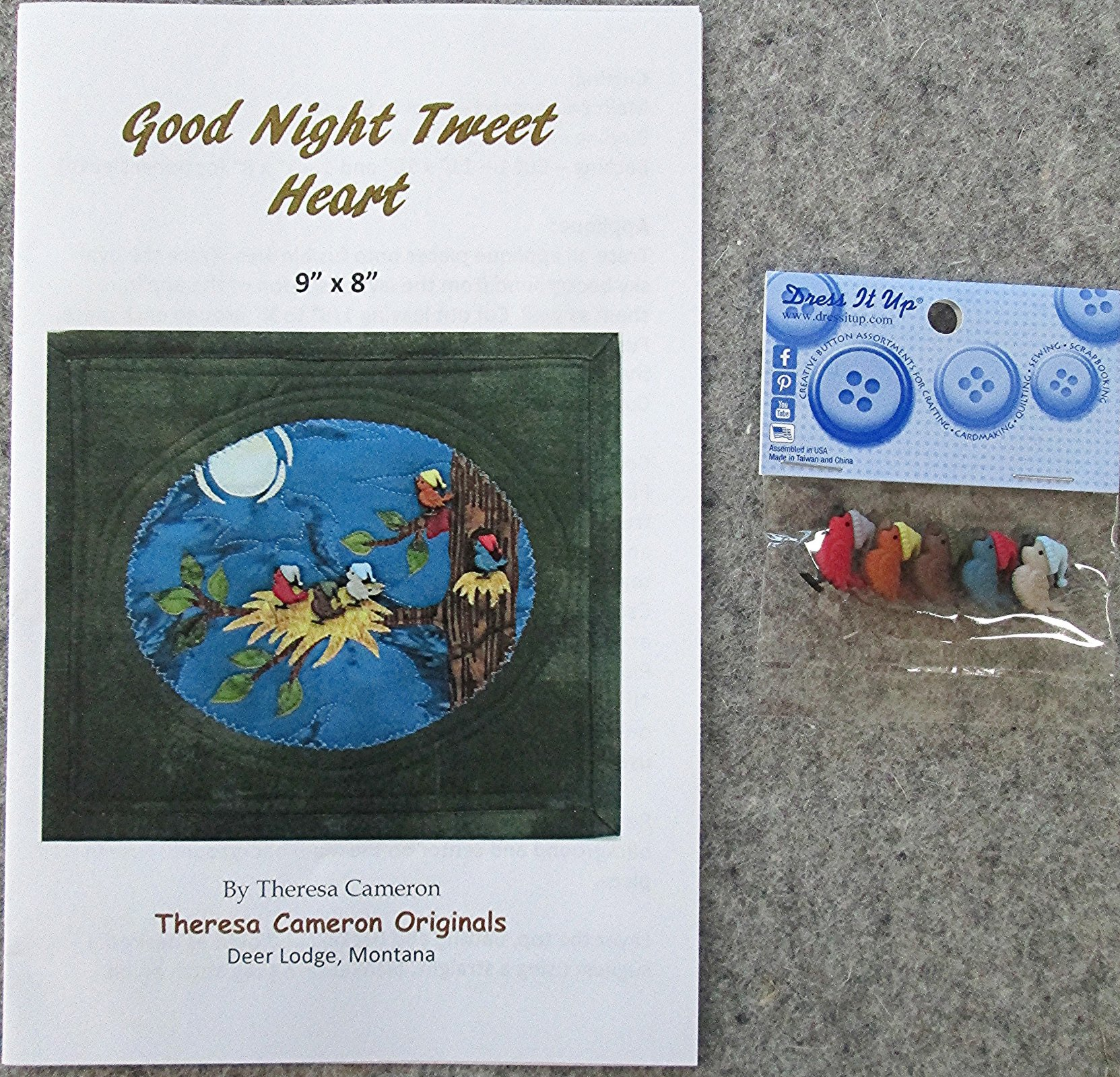 Good Night Tweet Heart Pattern and Buttons
