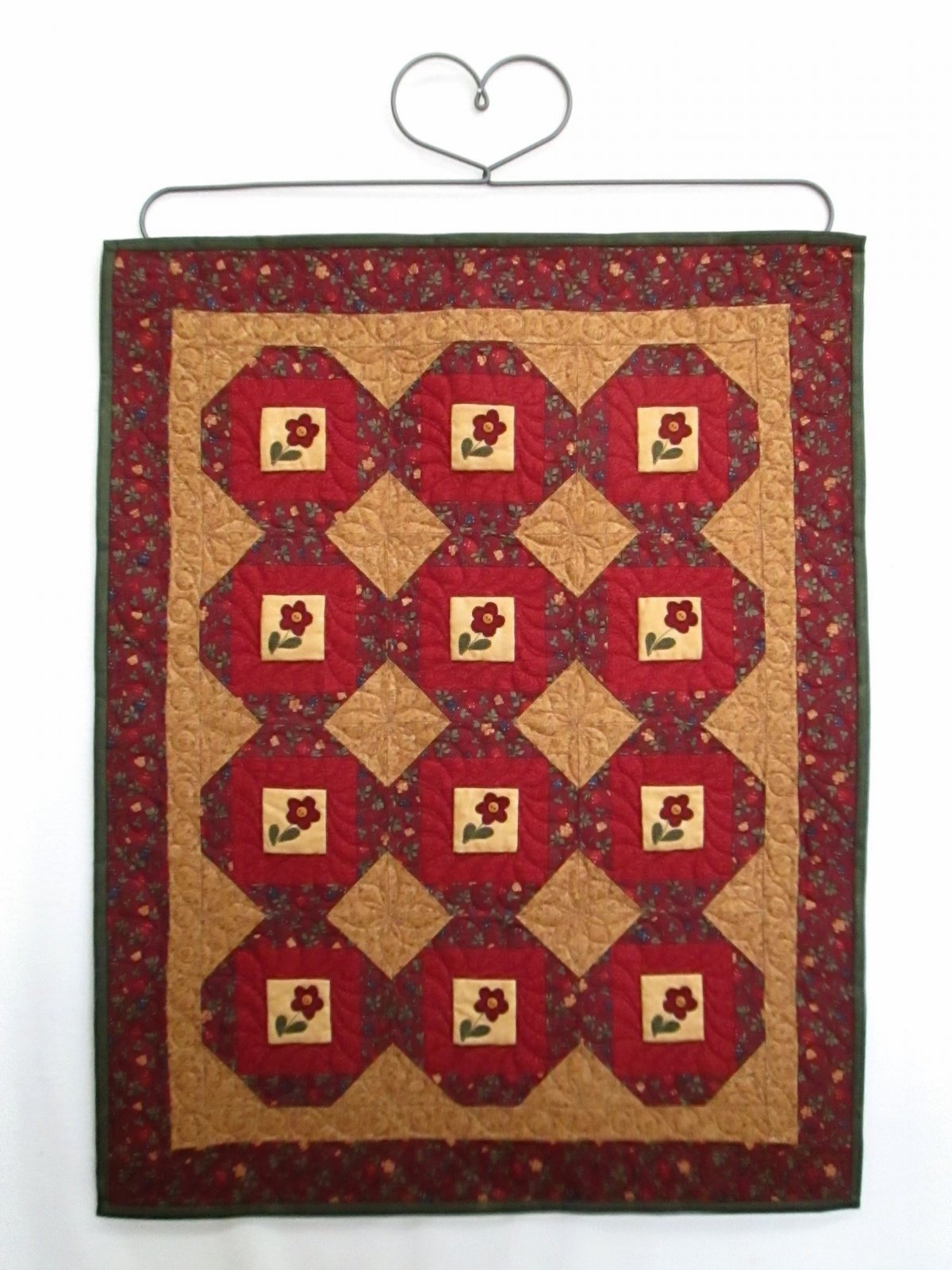 Red Button Quilt Co Flowers In The Wood Box Wallhanging Sample. 24x30