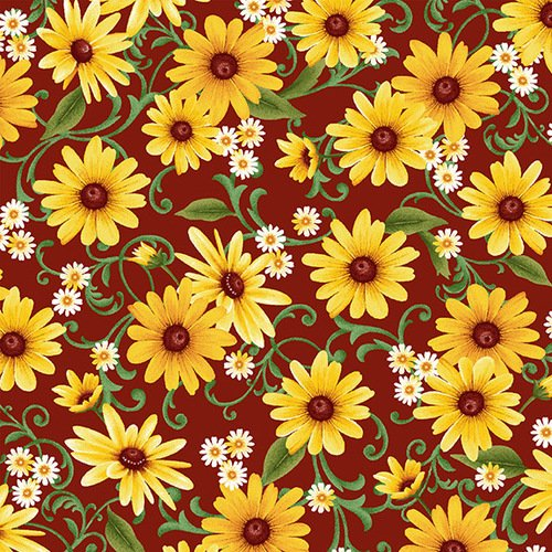 Studio E Farmers Market 4457-88 Red with Yellow Flowers