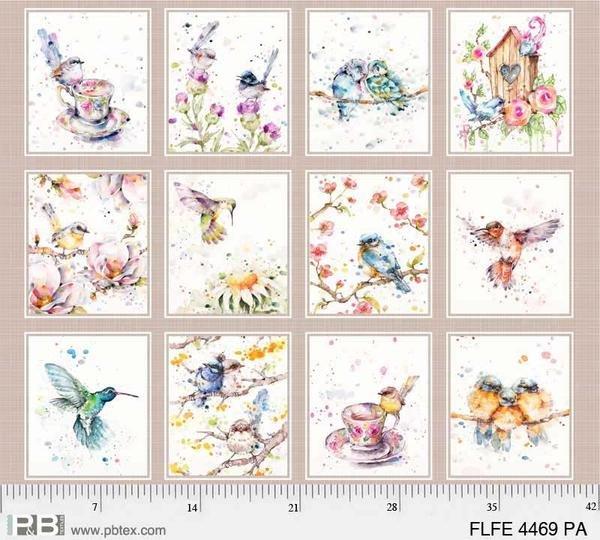 P&B Flowers & Feathers 4469-PA Teacup & Bird Panel