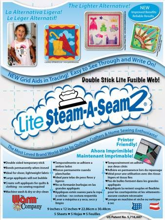 LITE STEAM-A-STEAM 2 5417WNN Double stick lite fusible web 5 sheets of 9x12    add on