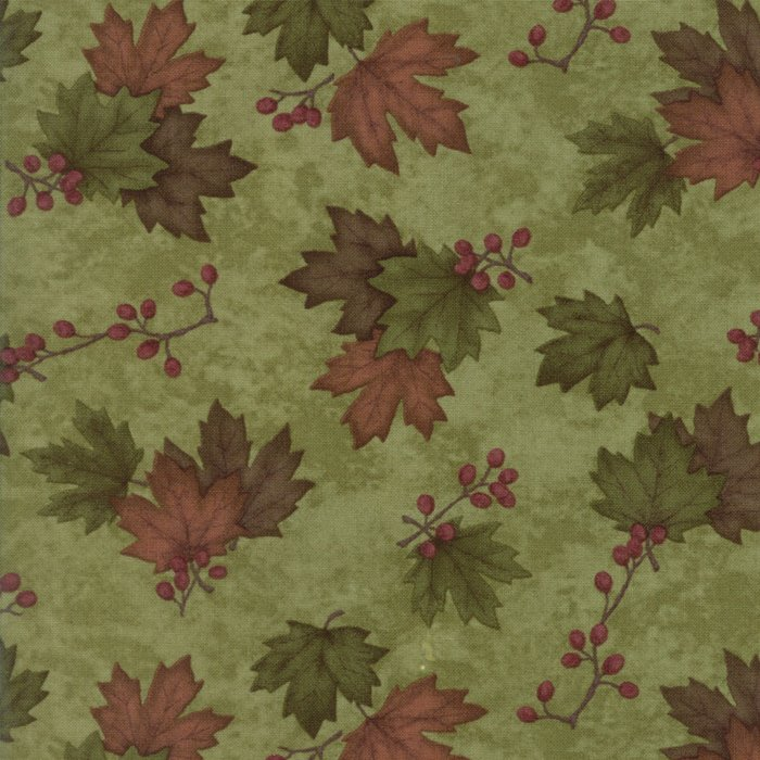 Moda Country Road 6668-14 Green Moss Tossed Leaves and Berry Sprigs