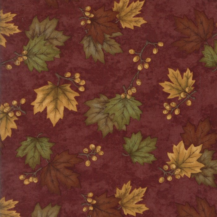 Moda Country Road 6668-27 Red Barn Tossed Leaves and Berry Sprigs