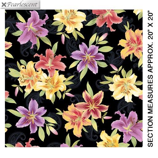 Benartex Lilyanne 6720P-99 Big Lily Allover Black/Multi Pearl