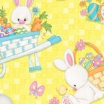 Henry Glass Hop to It 6857-44 Yellow with Tossed Easter Bunnies