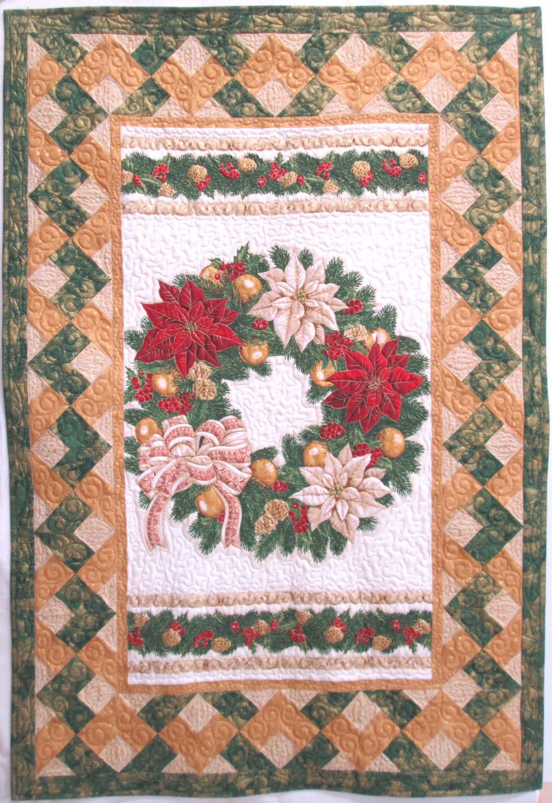 Holiday Flourish Christmas Elegance Wreath Wall Hanging or quilt Sample