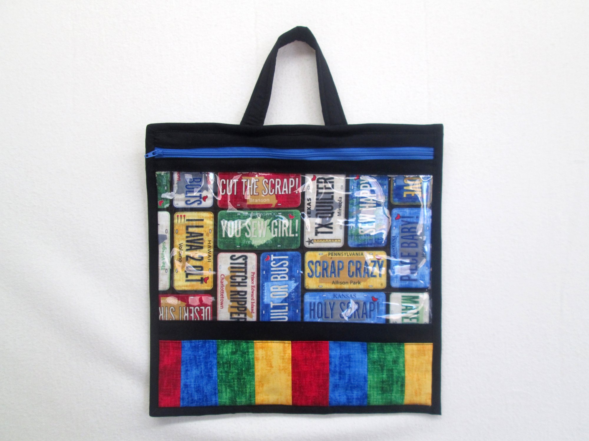 2016 Row by Row License Plate Large Project Bag Sample 13x13 Includes Vinyl & Zipper