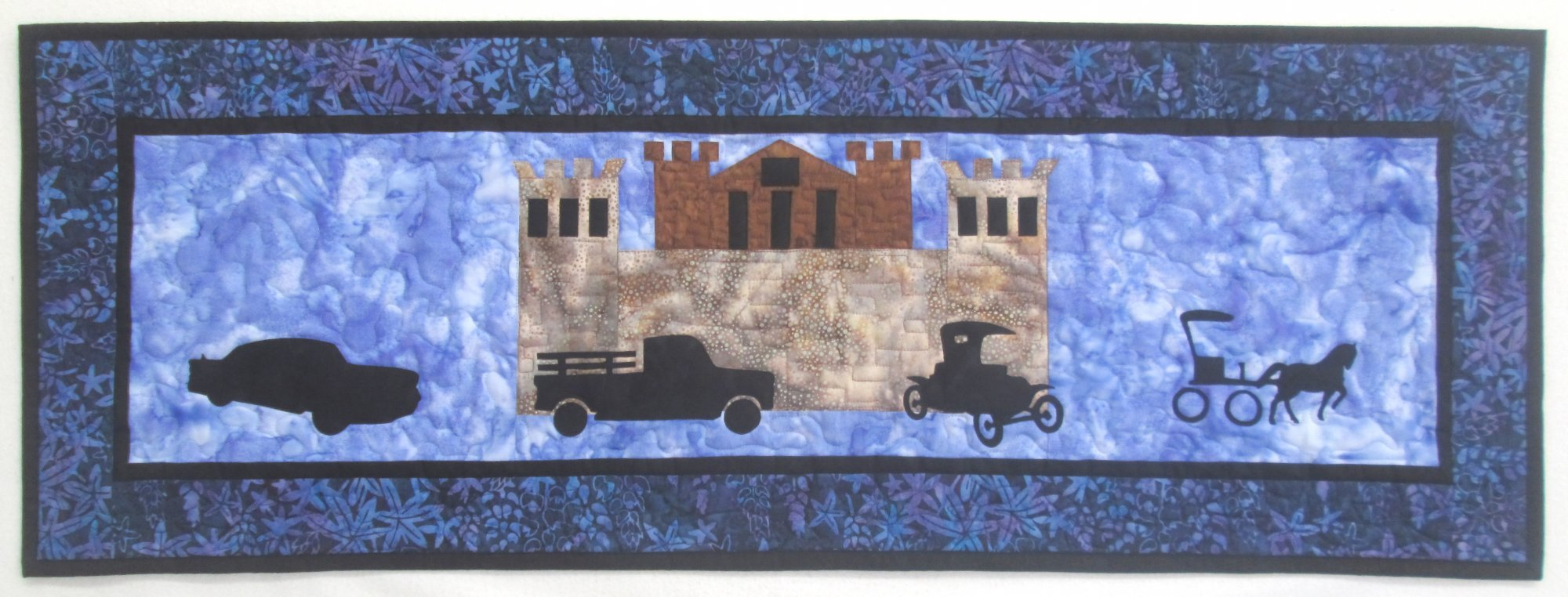 2017 Row by Row On the Go In Deer Lodge MT Wall Hanging Sample 15 x 42.5