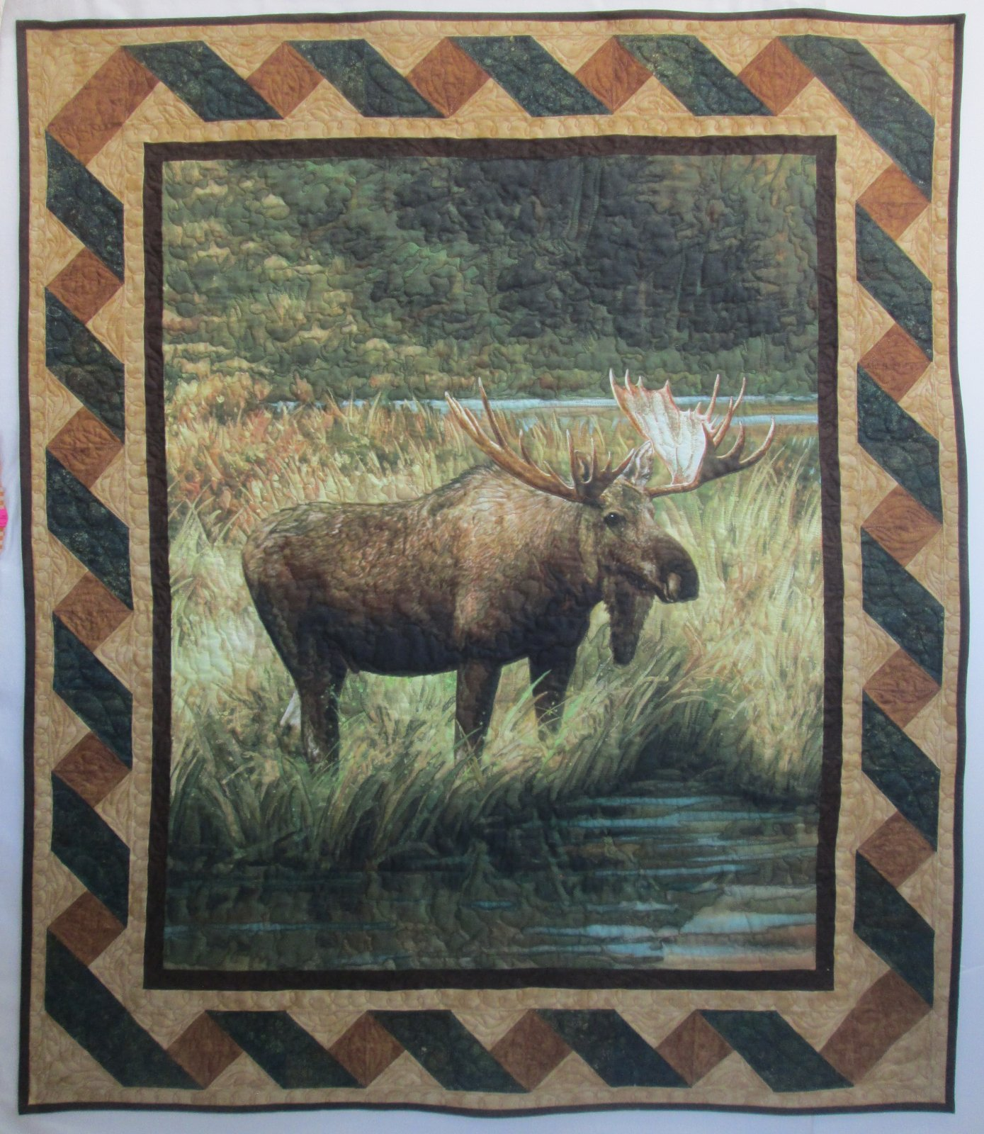 Majestic Outdoors Moose Twist Wall Hanging/Quilt Kit 46 by 54 Includes Binding
