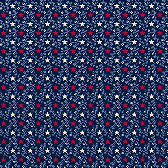 Andover Allegiance 9605-B Blue with Red & White Stars Light Blue Vines
