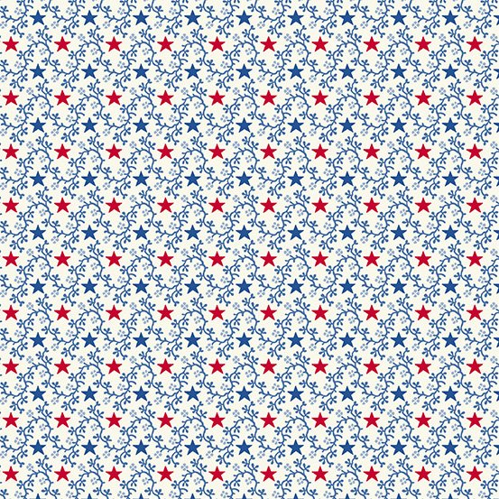 Andover Allegiance 9605-L White with Blue & Red Stars Vines