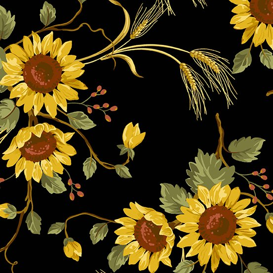 Andover Sunflower Field 9788-K Sunflower Bouquet on Black
