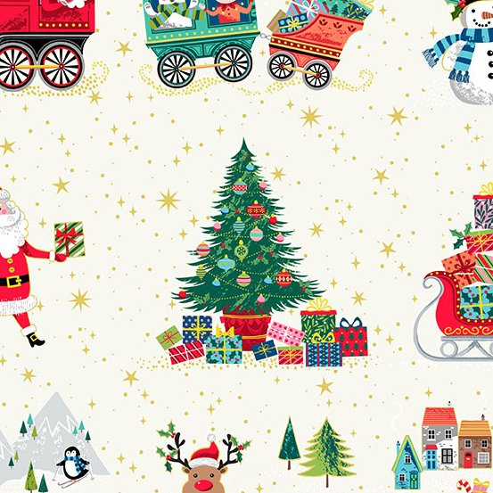 Andover Makower Santa Express 2378-1 White Santa, Train, Village, Reindeer