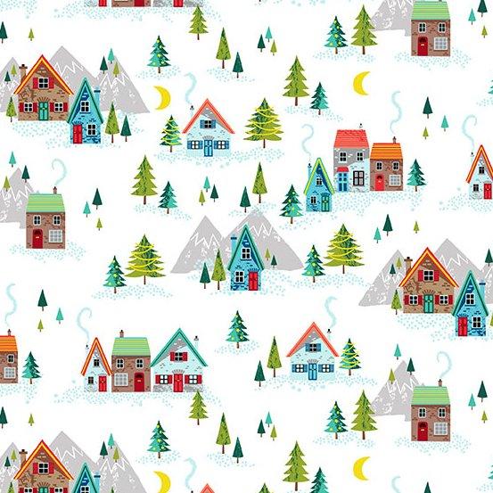 Andover Makower Santa Express 2379-W Mountain Village Scene White