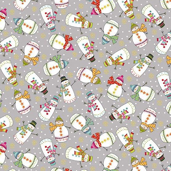 Andover Makower Santa Express 2386-S Snowmen on Grey Gold Metallic Snowflake