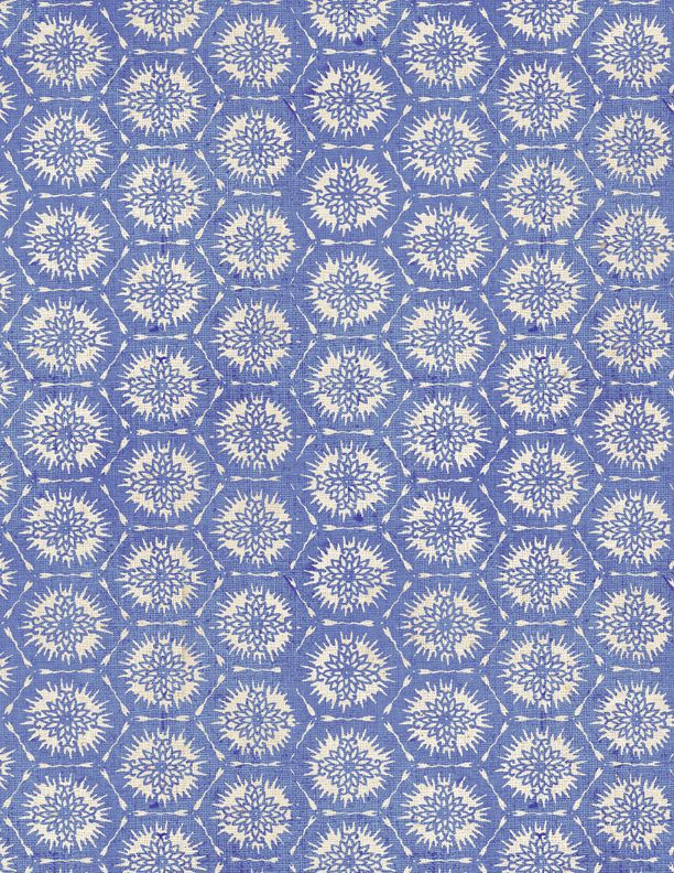 Wilmington Indi-Glow 82659-441 Blue with White Flower Centered Hexagons