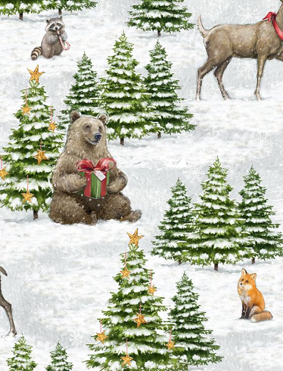 Wilmington Prints Friendly Gathering 96421-972 Moose, Bear Deer in Snowy Trees