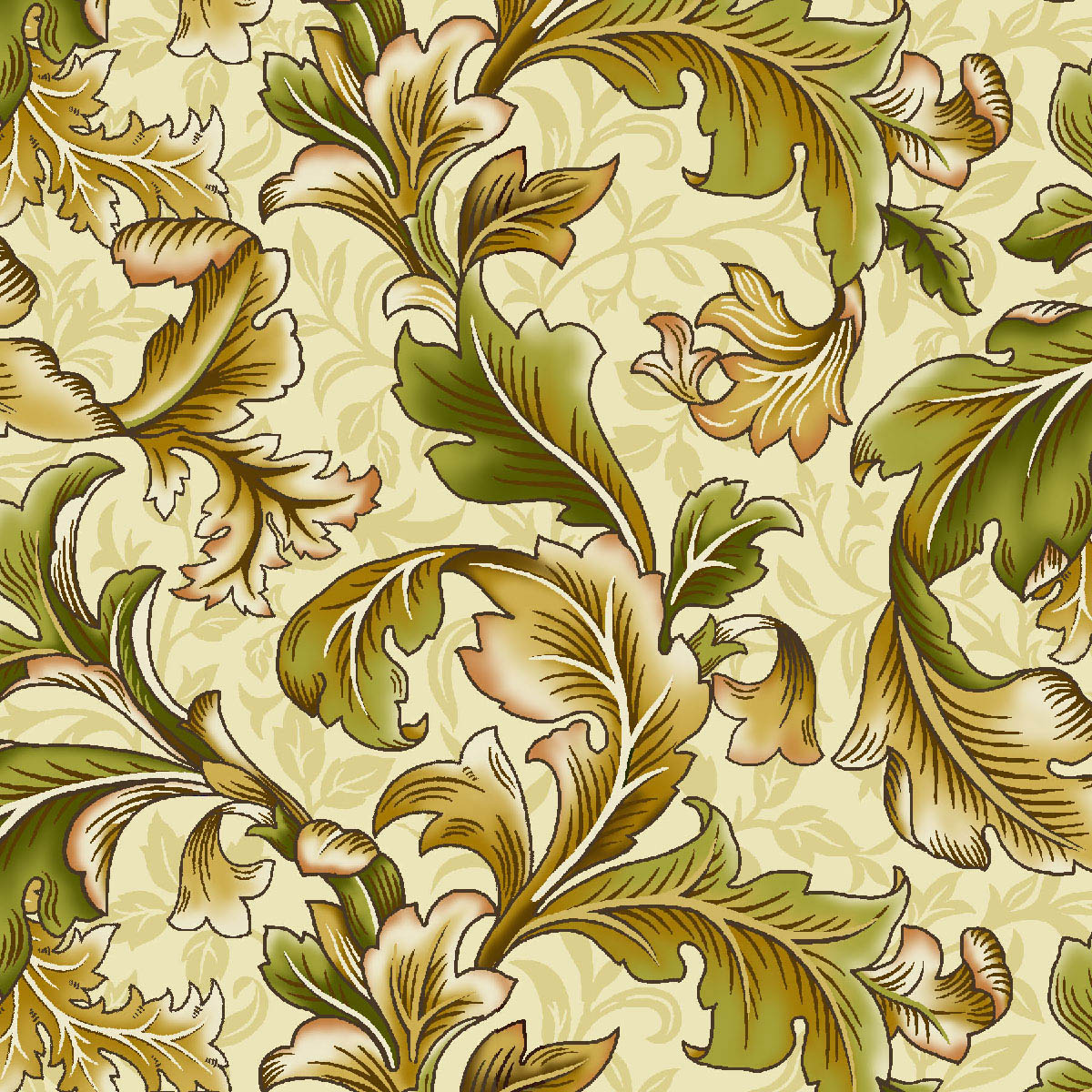 Exclusively Quilters Poetica 61303-90 cream-  feathers on cream