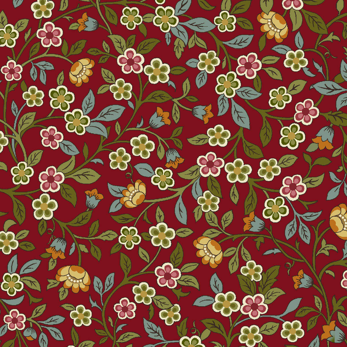Exclusively Quilters Poetica 61304-1 red- small flowers & vines on red
