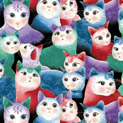 Benartex Cat-I-Tude 2 Purrfect Together 7554M-99 Sweetheart Cats Multi