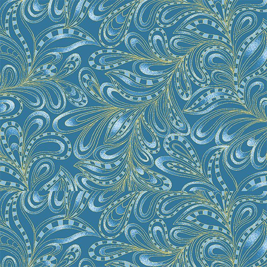 Benartex Cat-I-Tude 2 Purrfect Together 7555M-55 Feather Paisley Blue