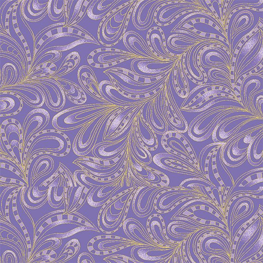 Benartex Cat-I-Tude 2 Purrfect Together 7555M-66 Feather Paisley Purple