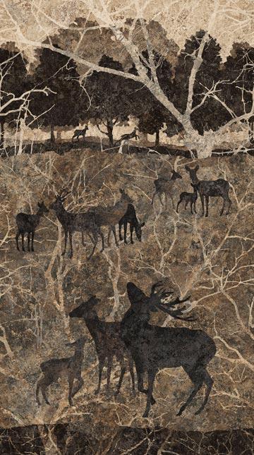 Northcott Stonehenge Deerhurst 39421-97 slate brown Panel deer scene
