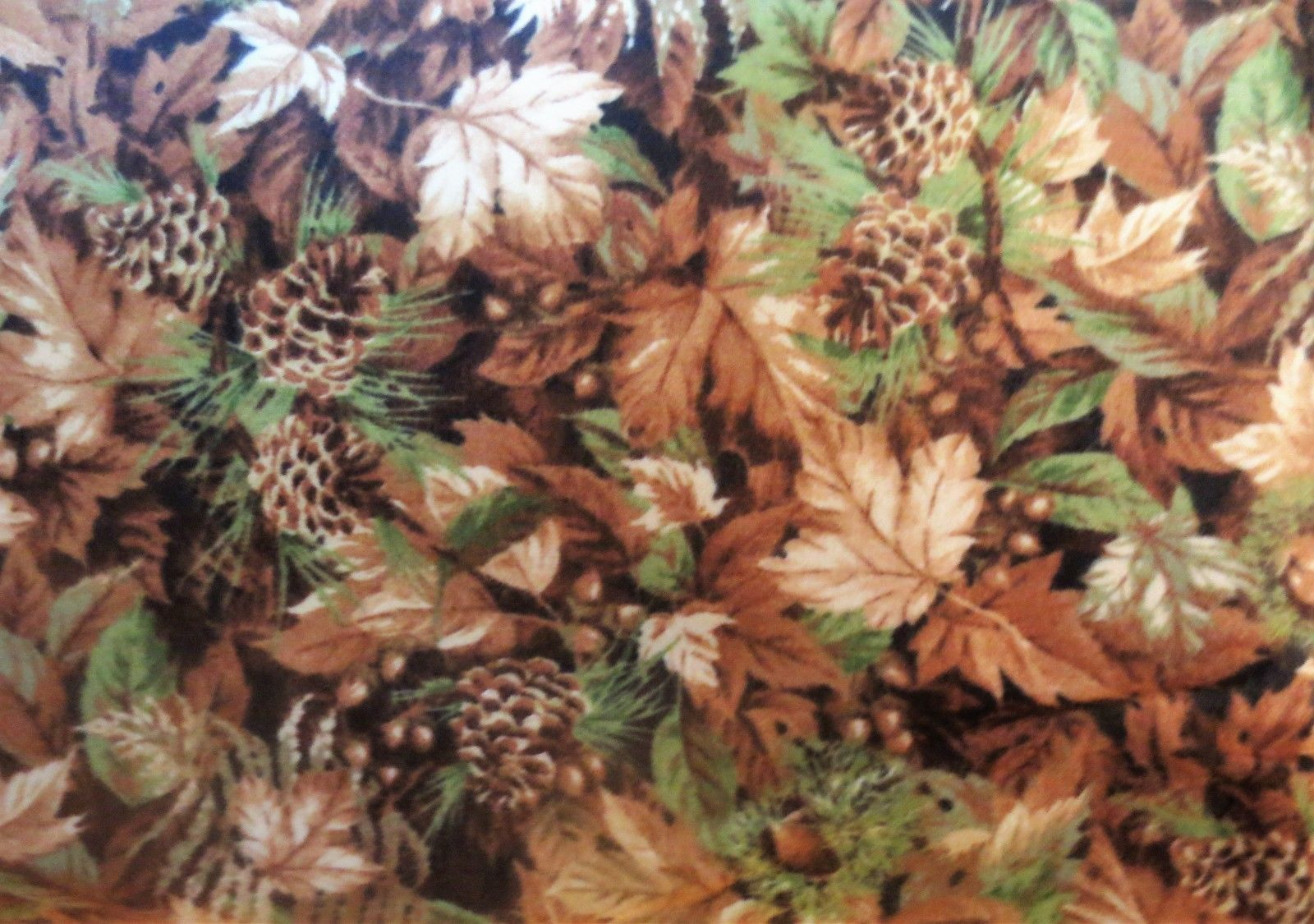 Northcott Algonquin Flannel F22552-34 tan leaves s& pinecones