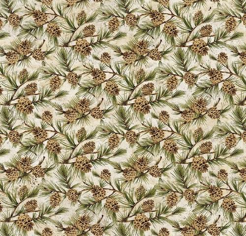 Northcott Algonquin Flannel F22553-12 Beige pinecone branches