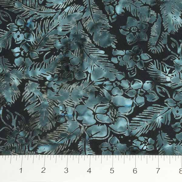 Northcott Banyan Batiks Feathers 80034-64 Navy with Green Feathers & Flowers