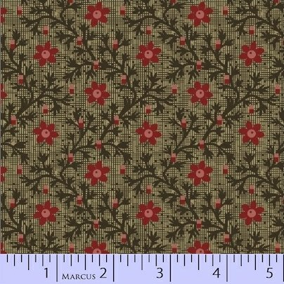 Marcus Pieceful Pines R17-8206-0114 Green leafy lattic with flower