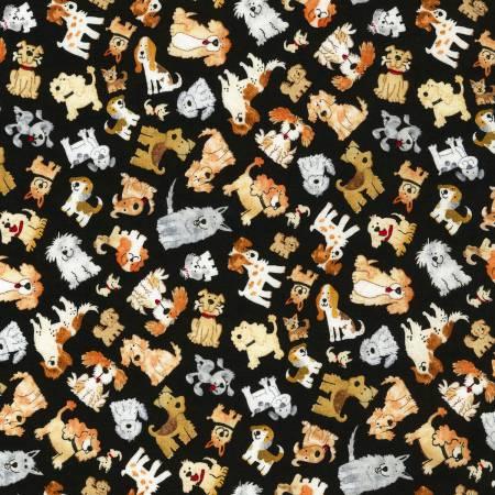 Timeless Treasures Minis C5488-Black Tiny Dogs on Black