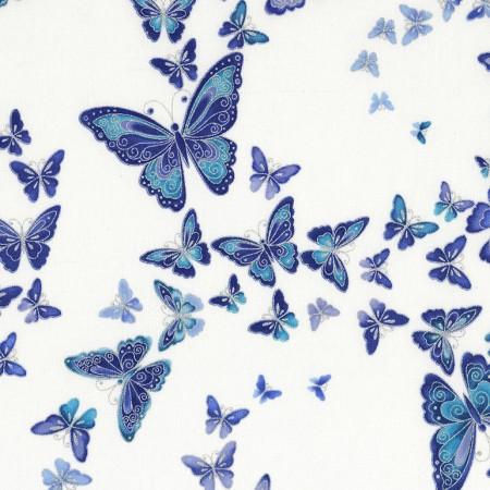 Timeless Treasures Dutchess CM5228-Snow White with Butterflies Silver Metallic
