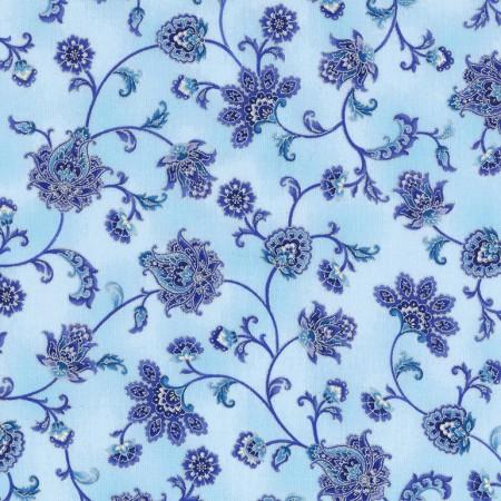 Timeless Treasures Dutchess CM5299-Mist Floral Scroll Silver Metallic