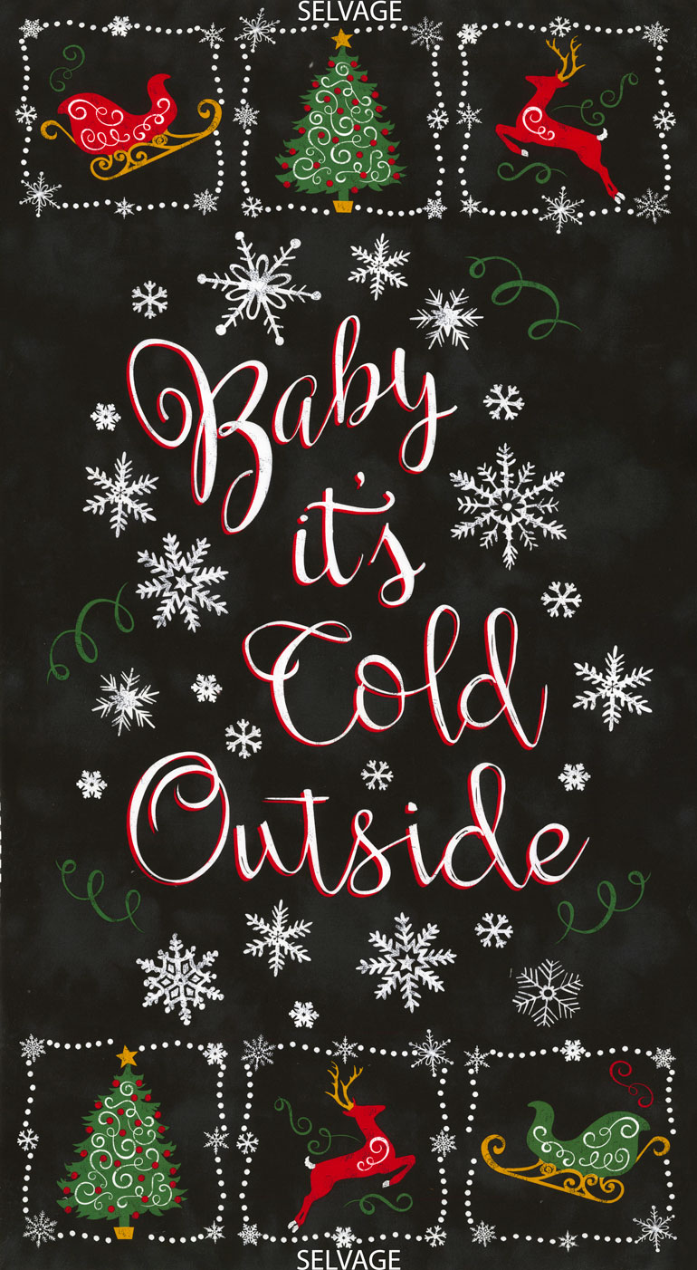 Timeless Treasures Holiday C5781- Black Baby It's Cold Outside Panel