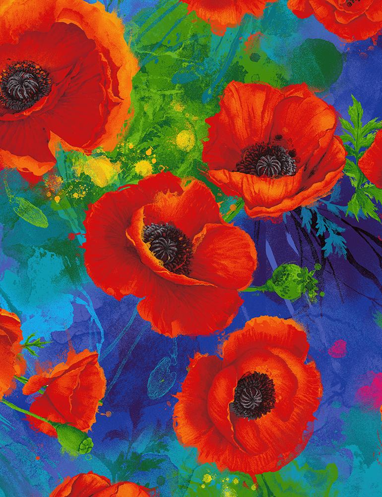 Timeless Treasures I Dream of Poppy CD6764 Royal Digital All Over Poppies