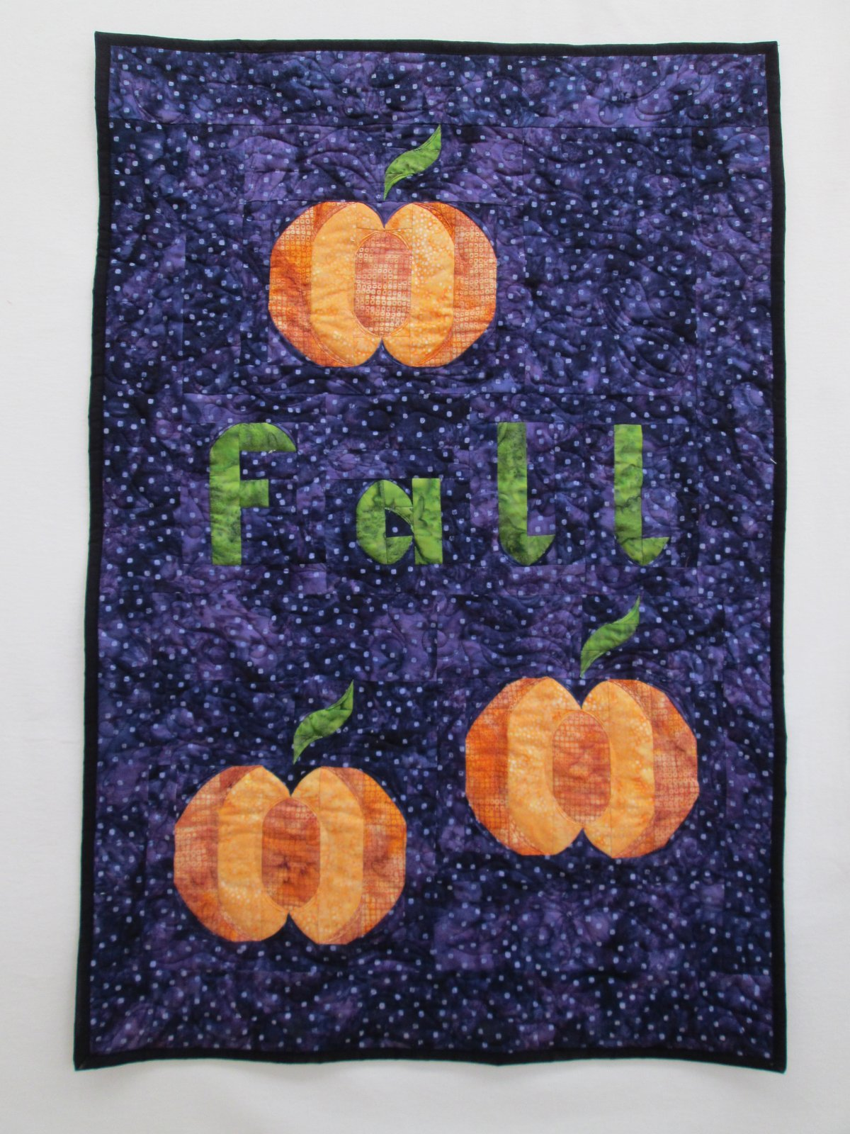 Batik Fall Pumpkin Stack Wall Hanging Finished Sample