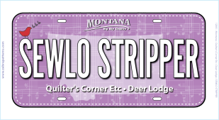 2018 Row by Row Fabric License Plate Sewlo Stripper