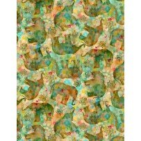 Wilmington Prints Bohemian Dreams 89192-573 Green with Tossed Elephants